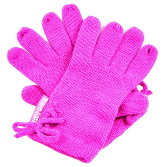 Hot Pink Harley Davidson Knit Scarf, Gloves, Hat Womens Cold Weather
