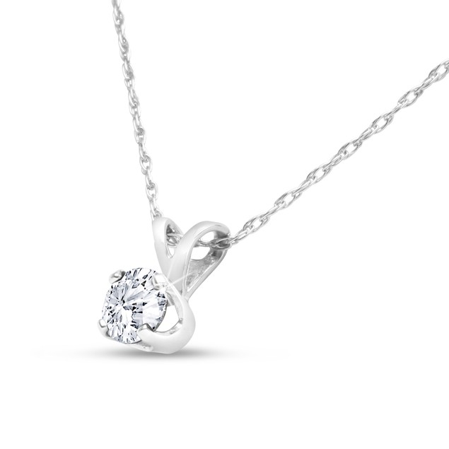 14k White Gold 1/4 Carat Genuine Diamond Solitaire Necklace