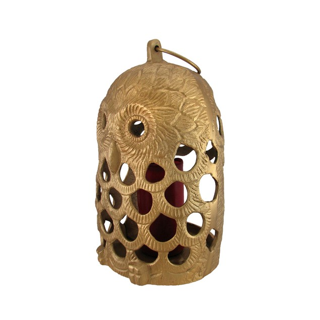 Golden Filigree Owl Cast Aluminum Decorative Decorative Candle Lanterns