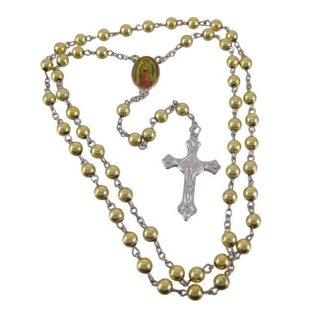 Rosary Necklace W/ Metallic Gold Round Beads Mens Pendant Necklaces