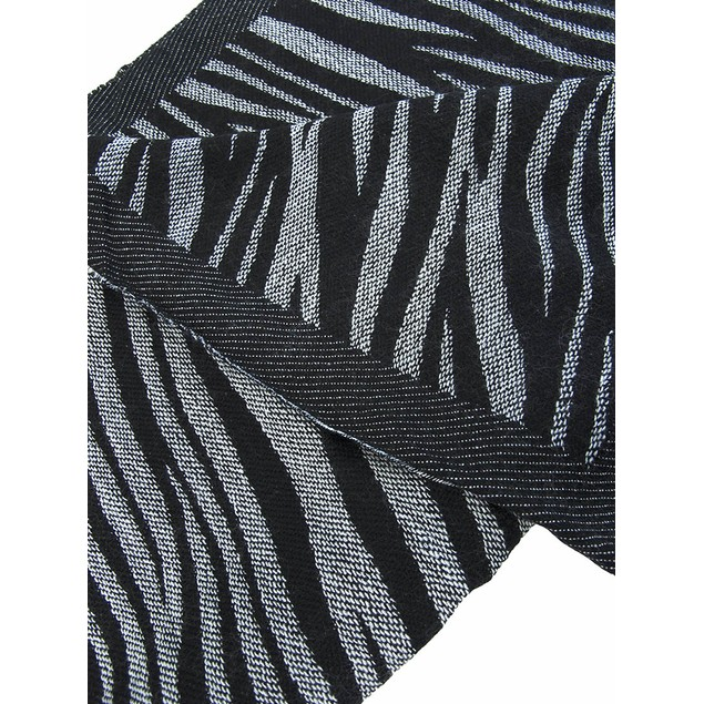 Black / White Zebra Stripe Scarf Shawl Fringed Womens Fashion Scarves