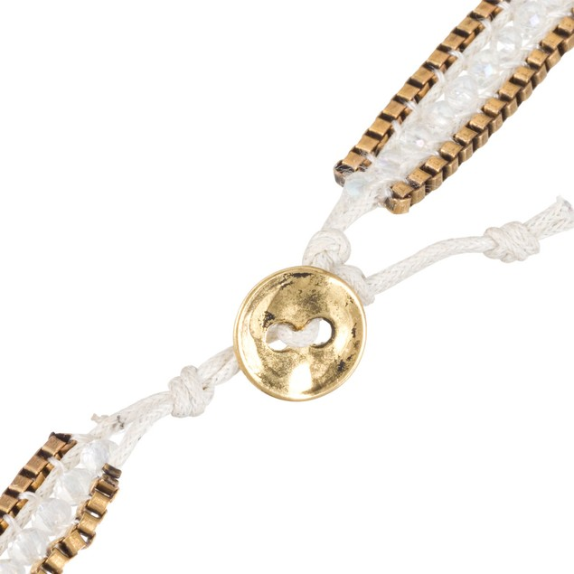 White Crystal & Gold Tone Box Chain Wrap Necklace