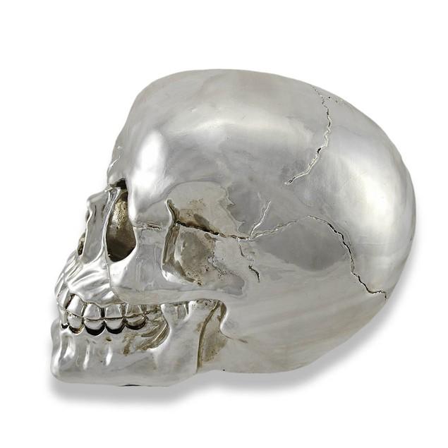 Chrome Silver Finish Human Head Skull Statue Head Sculptures