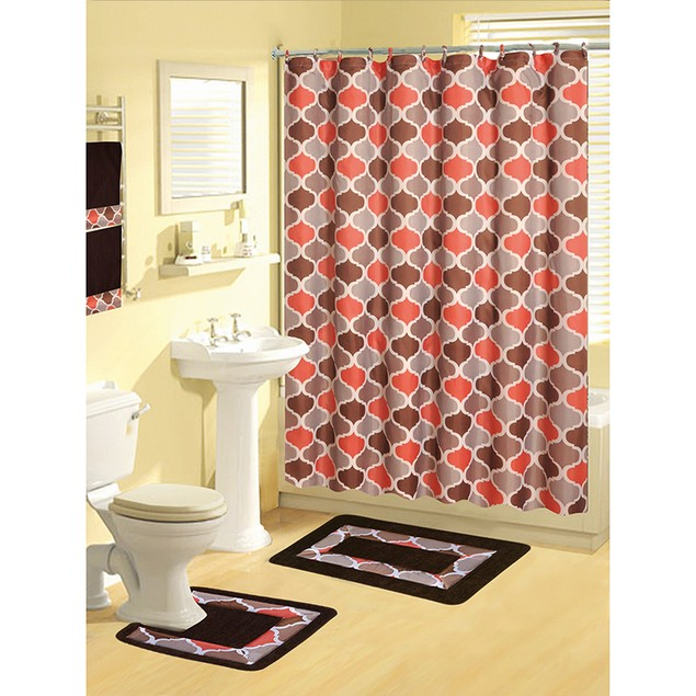 Boutique Deluxe Shower Curtain and Bath Rug Set: 17 Piece Bath Set