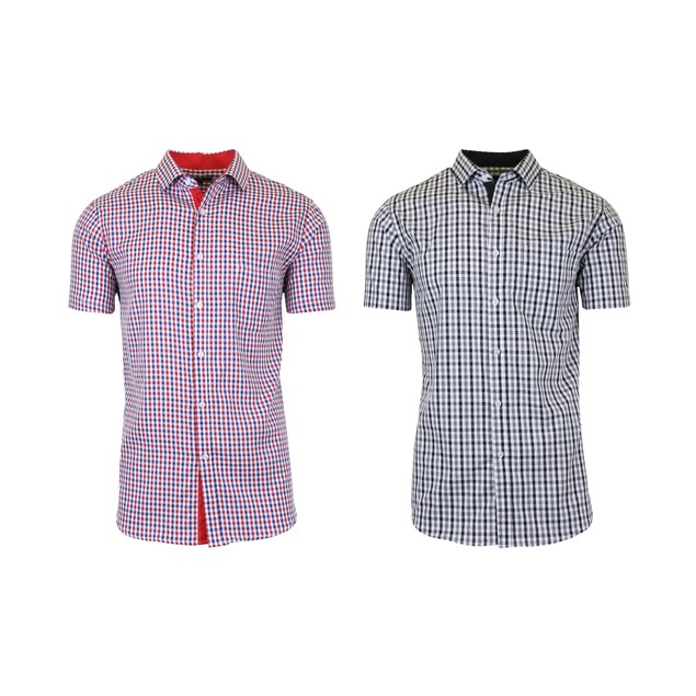 2-Pack Men's Short Sleeve Slim-Fit Casual Dress Shirts