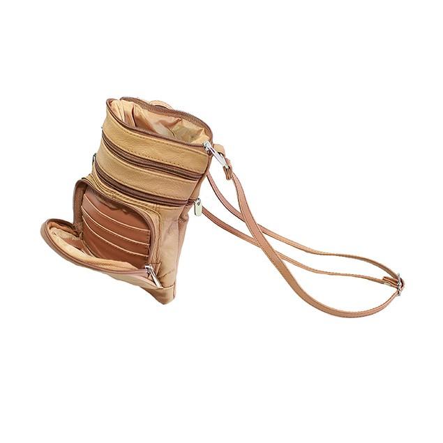 Genuine Leather Multi Pocket Cross-Body Bag