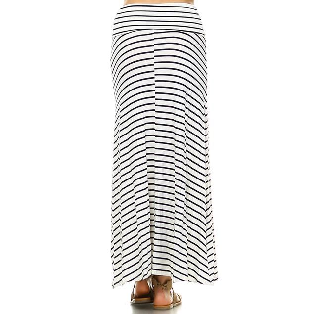 White Mark Universal Striped Maxi Skirt