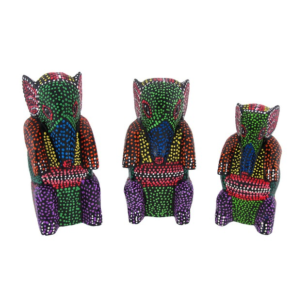 Set Of 3 Wooden Dot Painted Elephant Figurines Statues