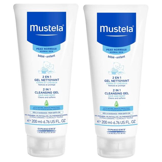2-Pack Mustela 2 in 1 Cleansing Gel, Baby Body & Hair Cleanser, Tear-Free
