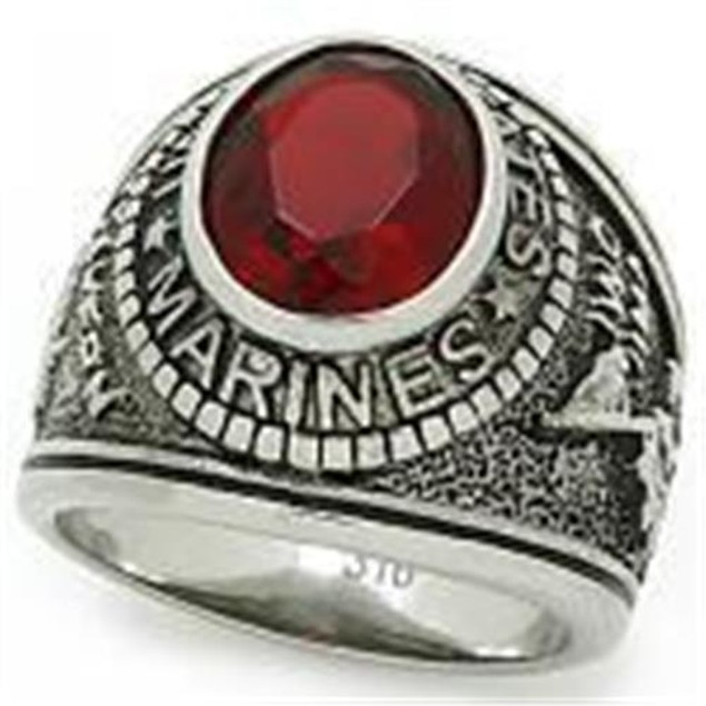 "Stainless Steel ""United States Marines"" Red Stone Ring"