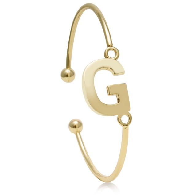 Trendy Gold Tone Large Initial Cuff Bracelet