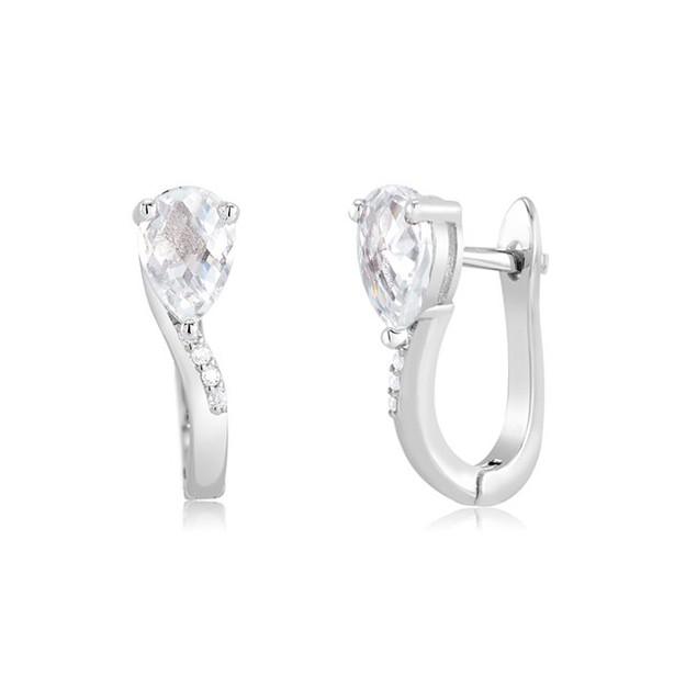 Winding Sterling Silver Cubic Zirconia Huggie Earrings