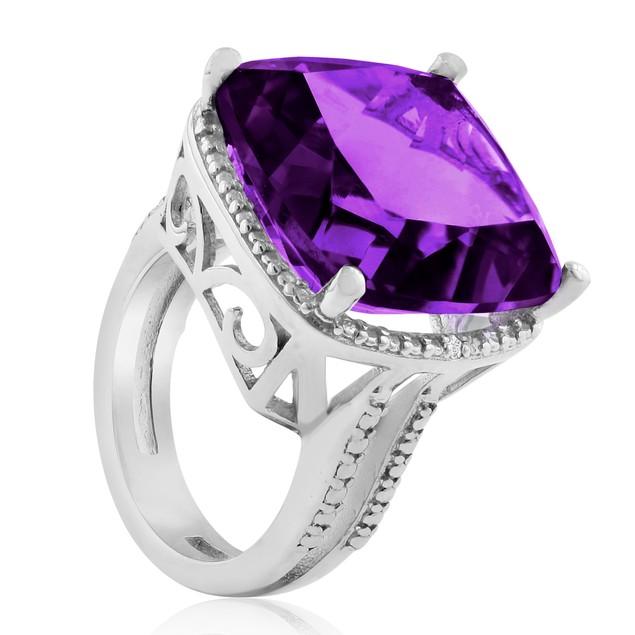 12ct Split Shank Amethyst & Diamond Ring