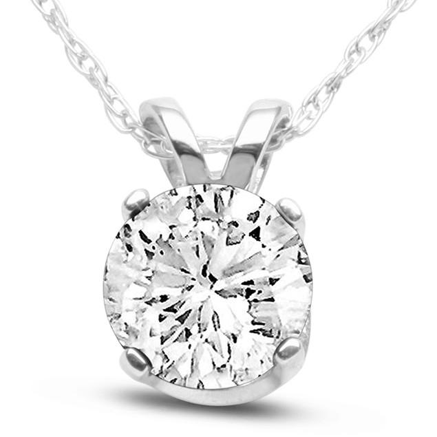 14k White Gold 1 Carat Genuine Diamond Solitaire Necklace