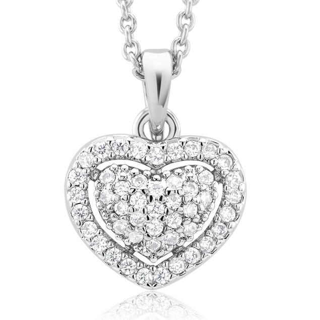 18kt White Gold Plated Simulated Diamond Necklace-Heart
