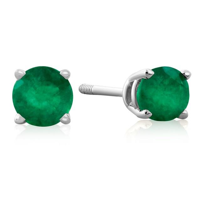 .60ct Emerald Stud Earrings in 14k White Gold