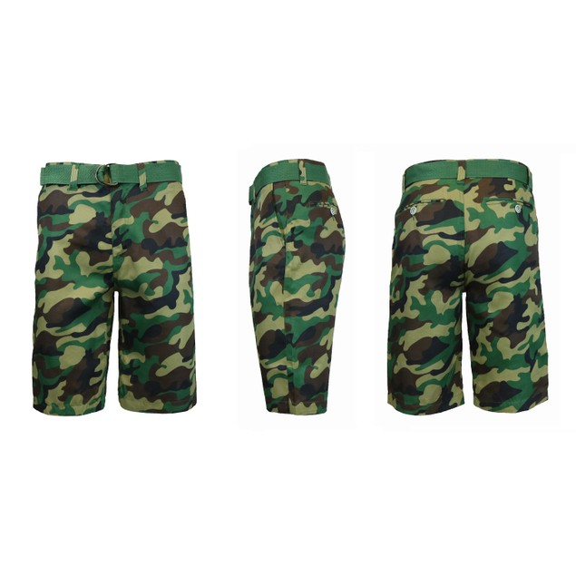 Men's Flat-Front Slim-Fit Belted Camouflage Shorts