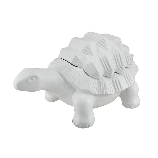 White Ceramic Standing Turtle Decorative Box Decorative Boxes