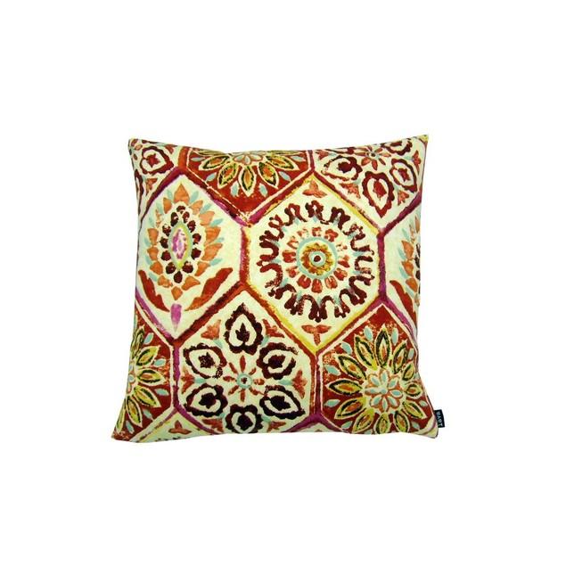 Block Print Salsa - 18X18 Throw Pillow Throw Pillows