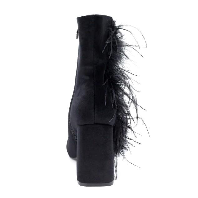 Olivia Miller 'Bushwick' Marabou Fur Chunky Heel Ankle Booties