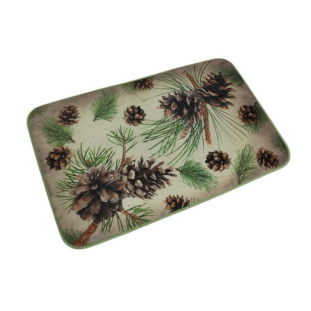 Microfiber Memory Foam Rustic Pine Cone Bath Mat Floor Comfort Mats