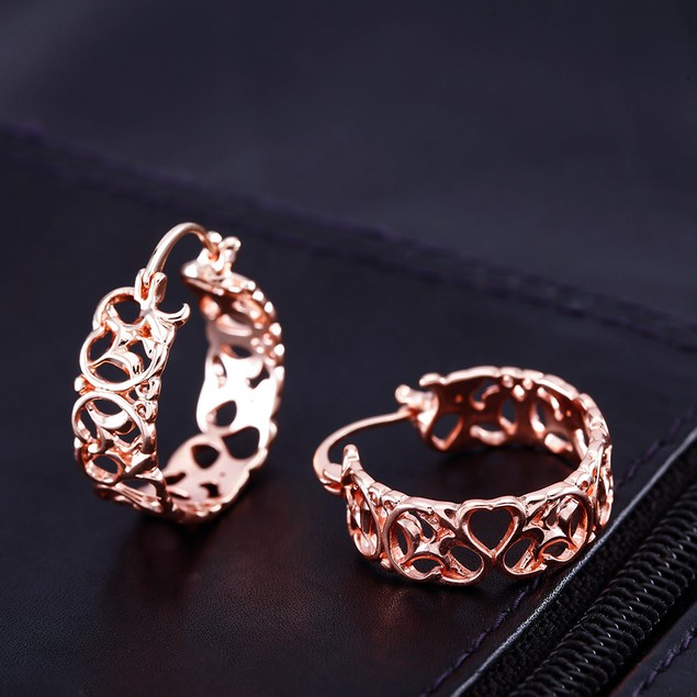 Rose Gold Plated Filigree Hoop Earrings