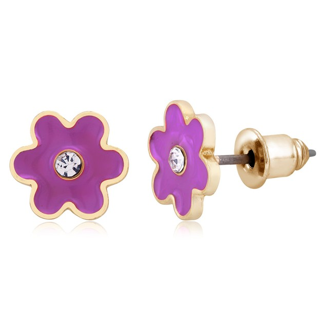 Flower Enamel Stud Earrings - 3 Colors