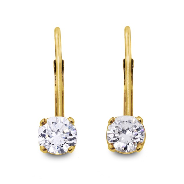 14k Yellow Gold 1/2 Carat Diamond Drop Earrings