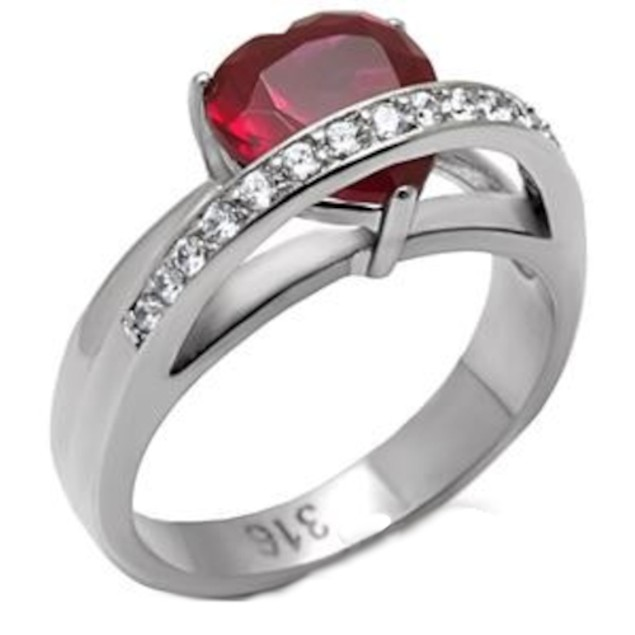 4.40 ct Red Heart Shaped Solitaire Ring Stainless Steel