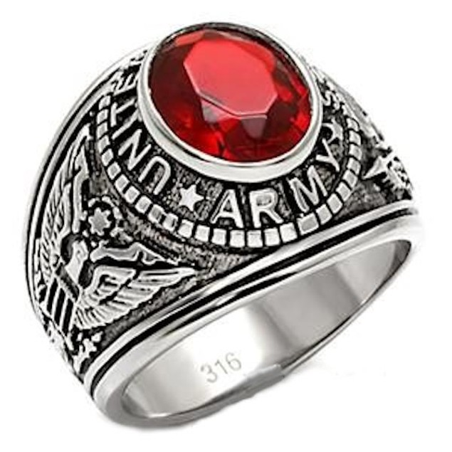 """Men's Stainless Steel """"United States Army"""" Red Ring"""