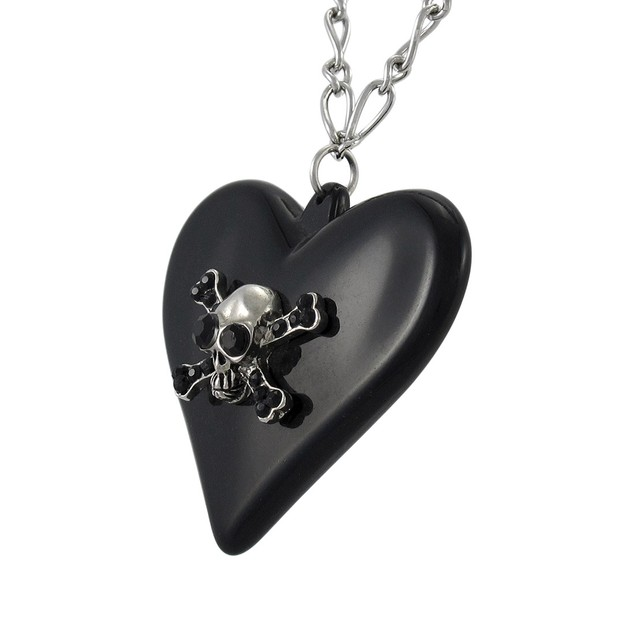 Gothic Poison Heart Skull Pendant W/ Silvertone Womens Pendant Necklaces