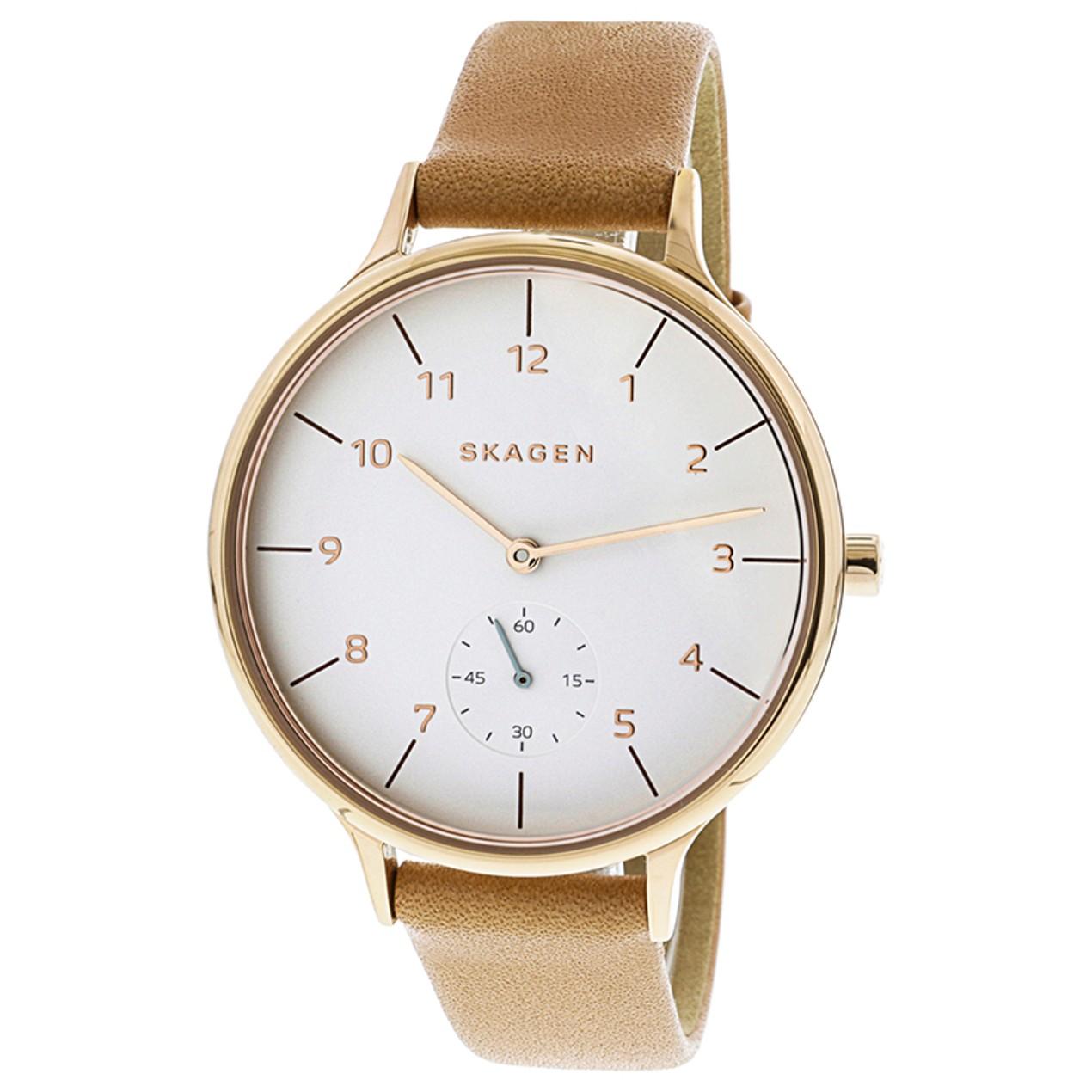 b67497833cd27 Skagen Women s Signature SKW2594 Brown Leather Quartz Fashion Watch ...