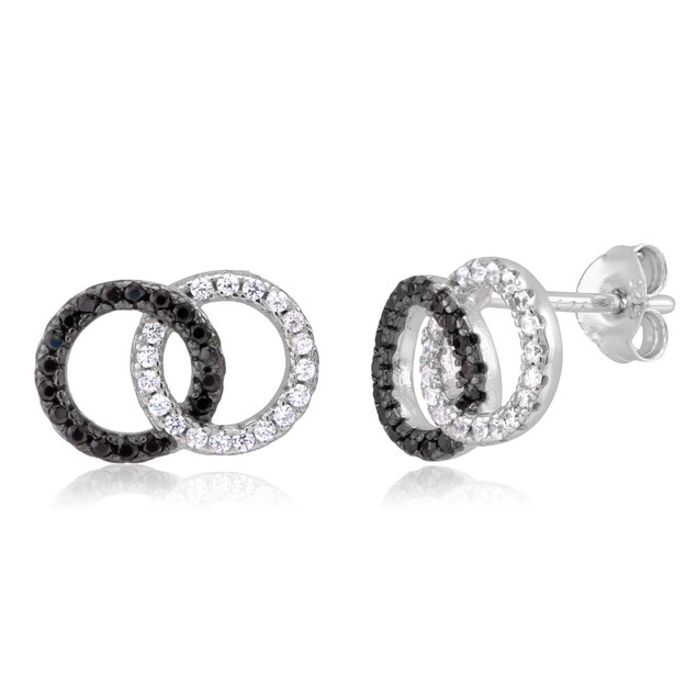 Sterling Silver Interlocking Circle Cubic Zirconia Earrings