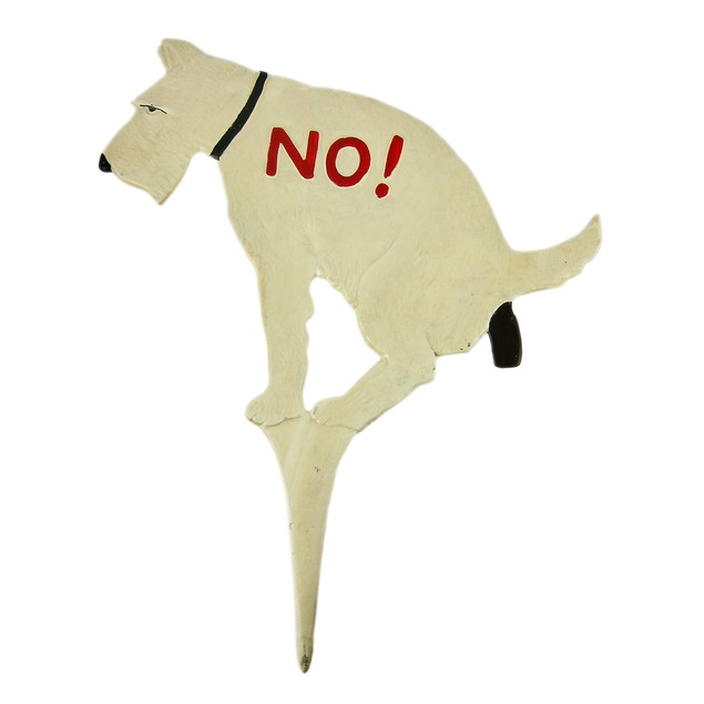 Large No Dumping Cast Iron Yard Stake Dog Sign Garden Stakes