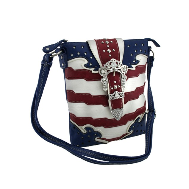 American Flag Rhinestone Buckle Concealed Carry Womens Cross Body Bags