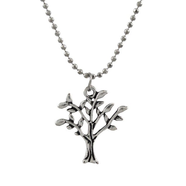Silver Tree Of Life Necklace With Dainty Bead Womens Pendant Necklaces