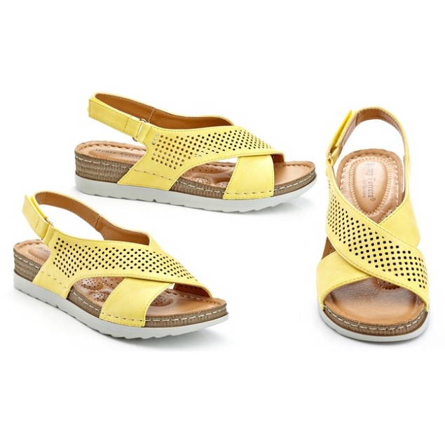 Women's Slip-on Perforated Sling Back Wedge Sandals