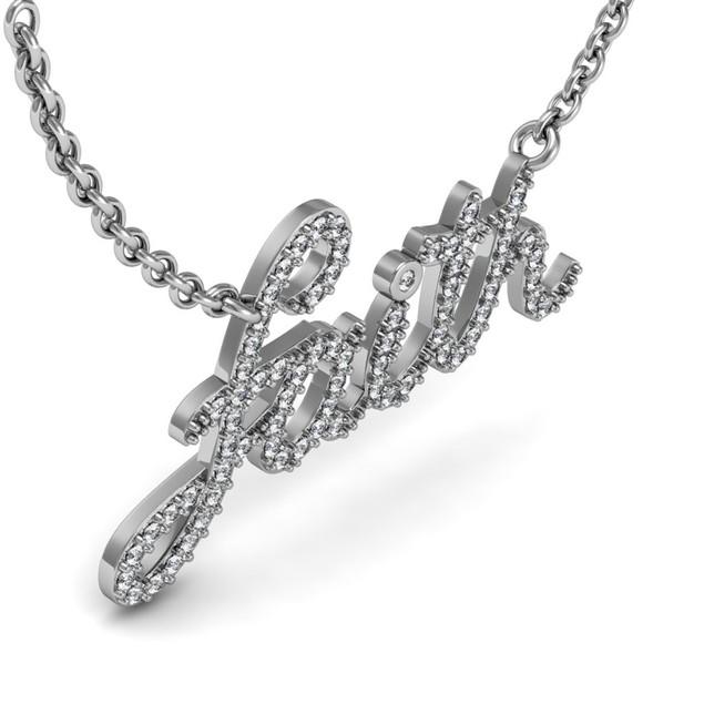 Sterling Silver 1/2 Carat Diamond Faith Necklace