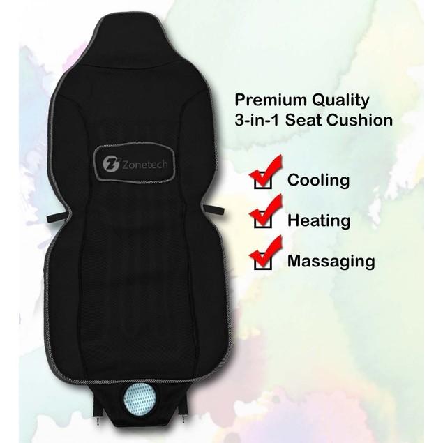 Zone Tech 2x Car Seat Cover Cushion Cooling Fan Cooler Heated Massaging