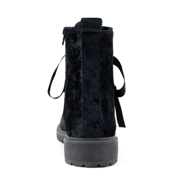 Olivia Miller 'Rockville' Ribbon Laced Velvet Work Boots