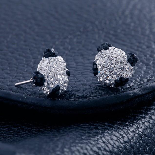 Black & White Crystal Panda  Stud Earrings