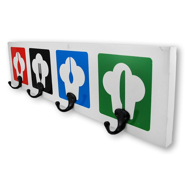 Chef Hats Four Hook Wall Plaque Decorative Wall Hooks