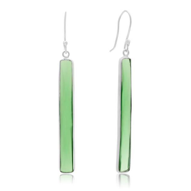 Sterling Silver 17 Carat Emerald Quartz Bar Earrings