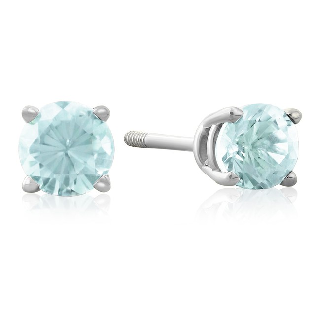 1/2 Carat Blue Topaz Stud Earrings in 14k White Gold