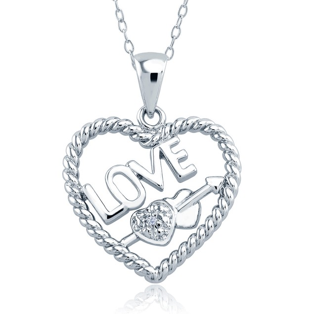 1/10cttw Diamond Accent Hearts Necklace