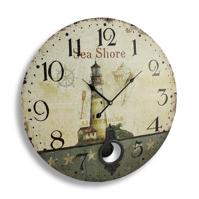 Antique Finish Seashore Lighthouse Wall Clock With Wall Clocks