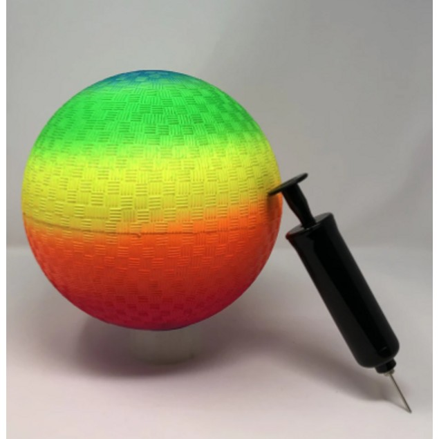 9 Rainbow Playground Ball w/ Pump and Needle