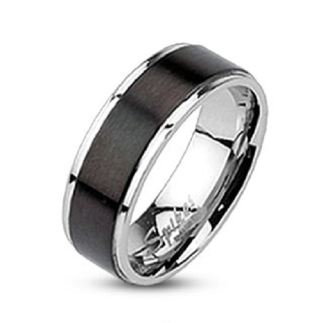 Brushed Black IP Center Band Stainless Steel Ring