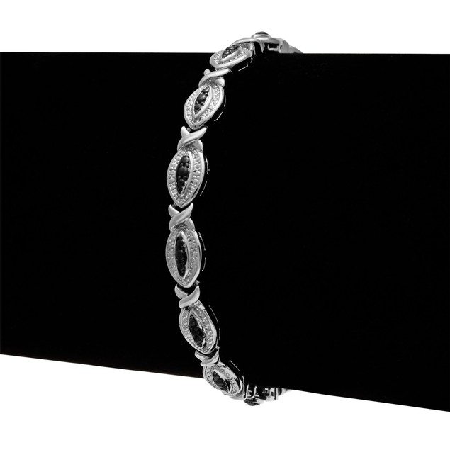 Black Diamond Accent Hugs and Kisses Bracelet