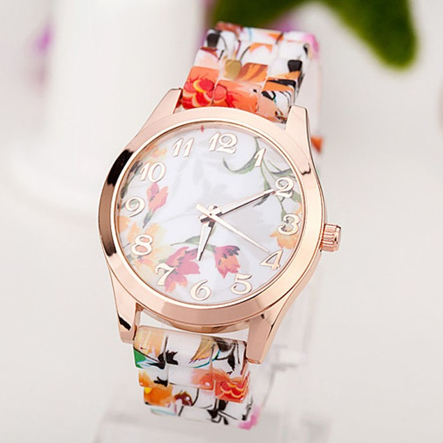 Women's Flower-Printed Silicone Quartz Watch